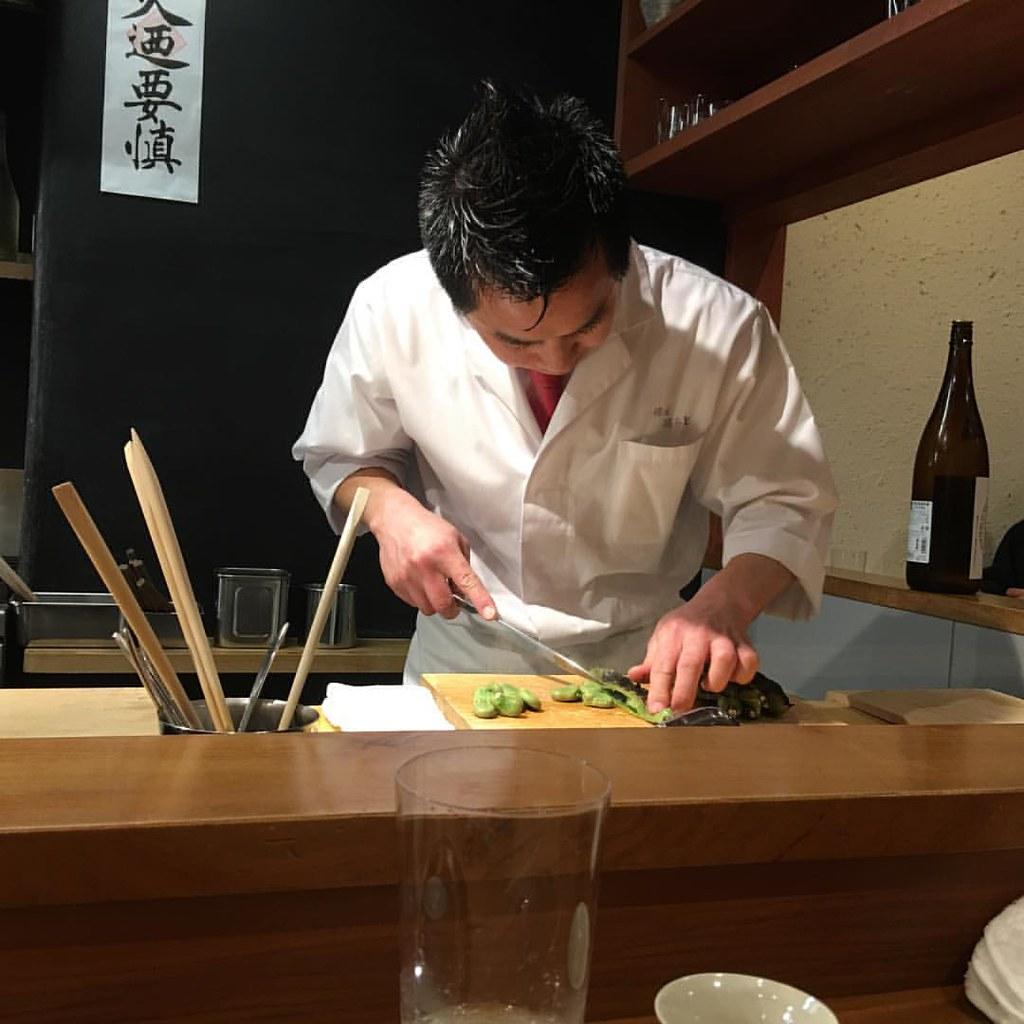 #kakookamato #chef #preparing #cooking in his #Kyoto #higashiyama #restaurant #setmenu #course #aninstantonthelips #mytokyokyototrip2017 #Japan