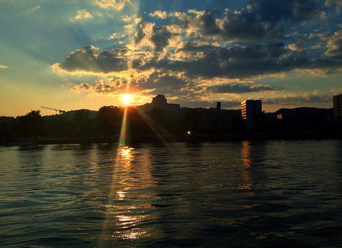 sunset water clouds linz austria österreich wasser sonnenuntergang wolken danube oberösterreich hdr donau pöstlingberg upperaustria iphone5 uploaded:by=flickrmobile flickriosapp:filter=nofilter