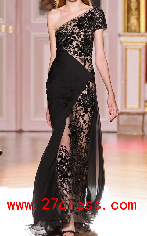 c38e7e5241c Hot Sale Zuhair Murad Evening Dresses One Shouler Lace Chiffon Black Prom  Dress from 27dress.