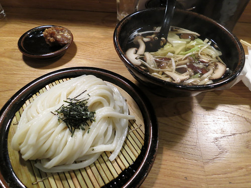 Cold udon with broth and walnut miso on the side | by illustir