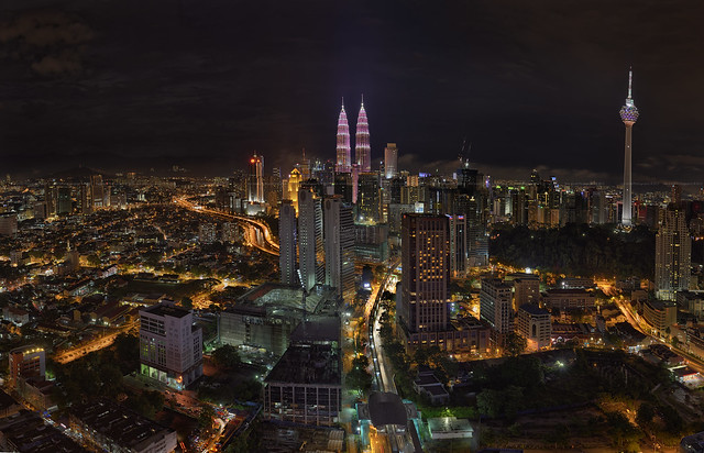 KL City Night Panorama during the Breast Cancer Awareness Campaign