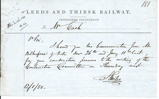 Leeds and Thirsk Railway memo 1850   by ian.dinmore