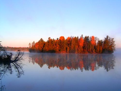 park autumn fall fog sunrise day silverlake provincial