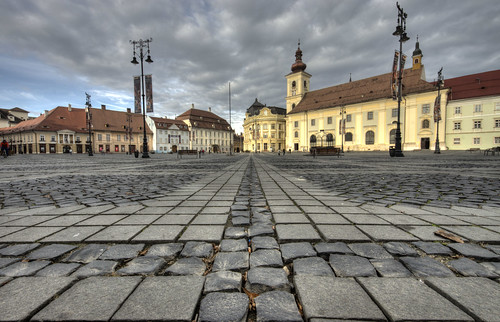sunset urban geometric church architecture buildings landscape raw cobblestones historical hdr sibiu publicsquare lowview tonemapped sigma816mm romania2013