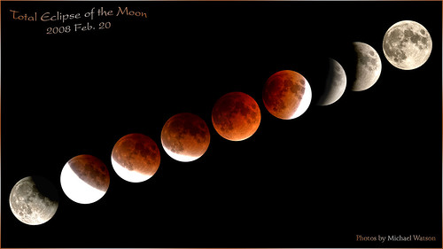 Collage of the 2008 Feb. 20 total eclipse of the Moon (from Toronto)