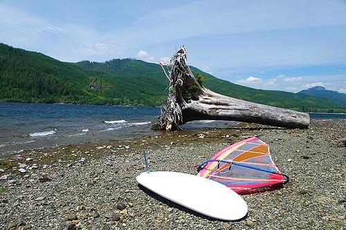 Wind Surfer at Nitinat Lake, Vancouver Island, British Columbia, Canada