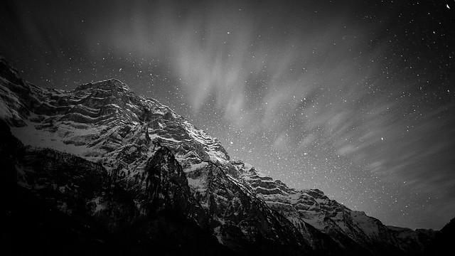 Monochrome shot of Klöntal mountains, Switzerland, by Altug Karakoc.