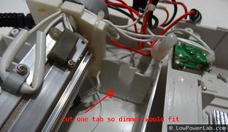 Cut tab inside laminator for dimmer | by Felix Rusu, LowPowerLab.com