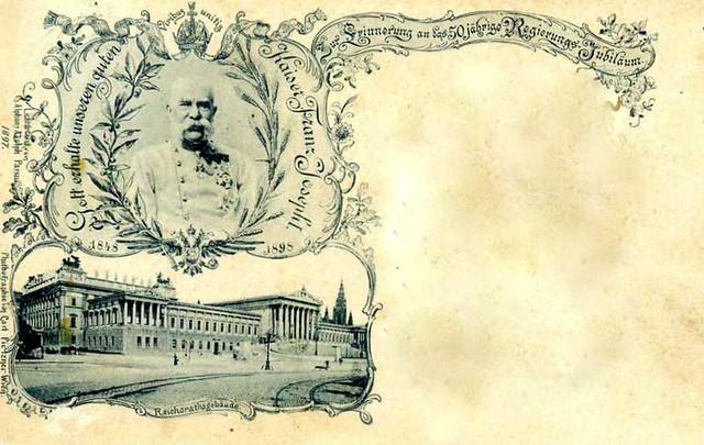 Parlament in Wien mit Portrait Kaiser Franz Josef I.