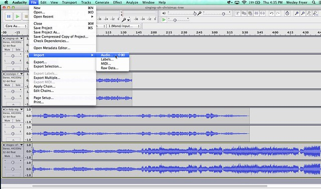 Combine Audioboo Sound Recordings with Audacity – Playing