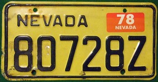 NEVADA 1978---COMMERCIAL  LICENSE PLATE