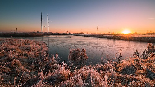 vijfhuizen landscape landschap winter sunrise water sky sun