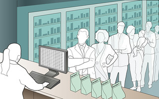 Long queue of unhappy customers/patients at the hospital pharmacy or drug store | by BrotherUK