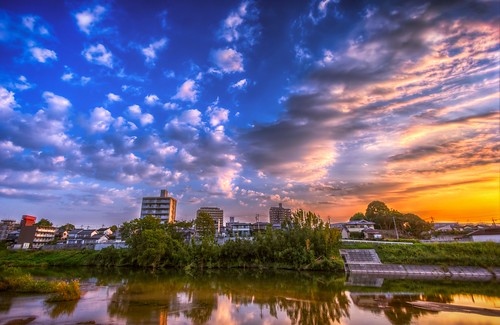 sky sun water clouds sunrise river 雲 太陽 空 水 川 otogawa fav10 otoriver 乙川