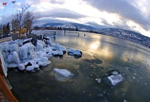 fisheye winter sunset ice okanagan okanaganlake penticton britishcolumbia canada pentax jasbond007 nigeldawson copyrightnigeldawson2014 smcpentaxda1017mmf3545fisheyeedif lake landscape k20d