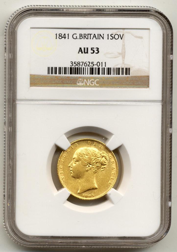 EXTRMELY RARE, 1841 UNITED KINGDOM, QUEEN VICTORIA, GOLD F