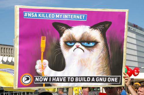 Grumpy Cat builds a GNU Internet   by greenoid
