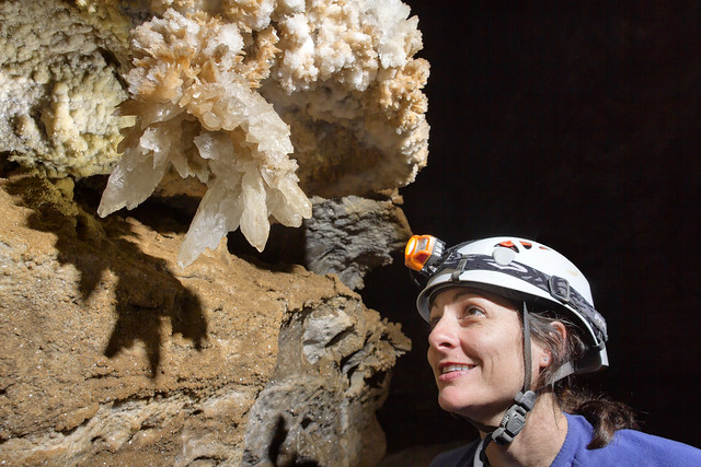 Chandelier formation, Kristen Bobo, Blowhole Cave, Cannon County, Tennessee