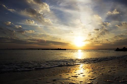 sunset sky cloud beach island gold harbor sand day cloudy charleston carolina sullivans