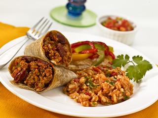 Mexican Style Burrito, Spanish Rice, Refried Beans, Fajita Veggies, Salsa | by diettogo1