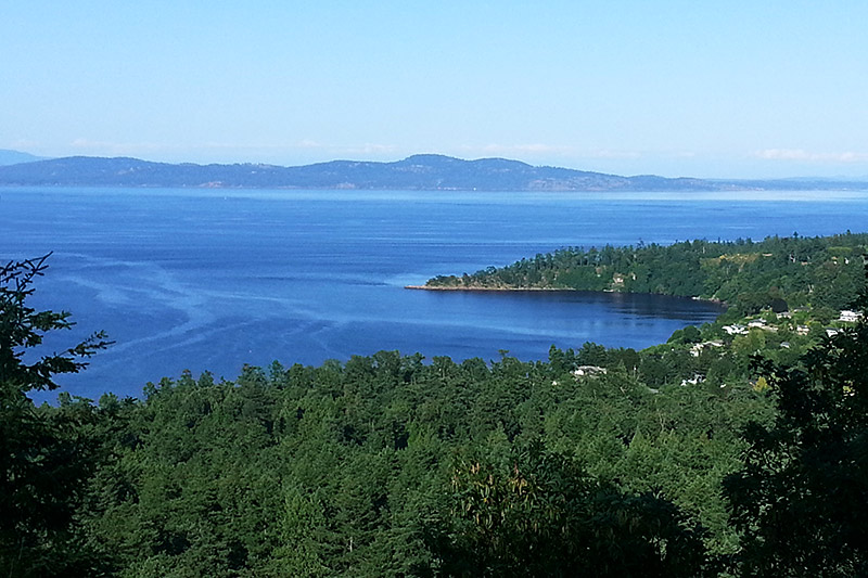 Cordova Bay viewed from Mount Douglas in Saanich, Greater Victoria, Vancouver Island, British Columbia, Canada