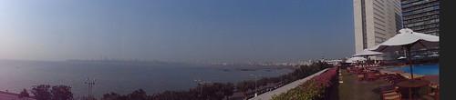 india mumbai skyline city ocean sea panorama hotel view pooldeck bombay bay building buildings skyscrapers asia