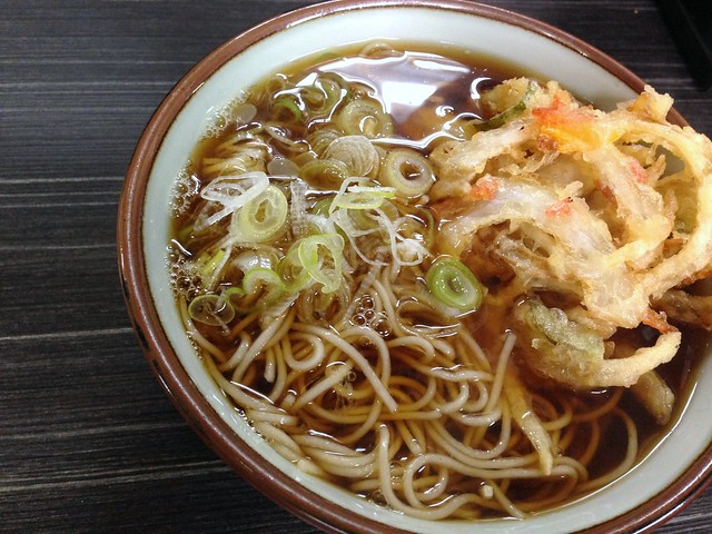 Soba with a mixed vegetable tempura from Monju @ Asakusa