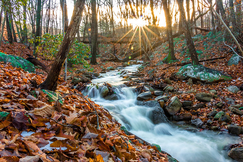 sunset mountain stream
