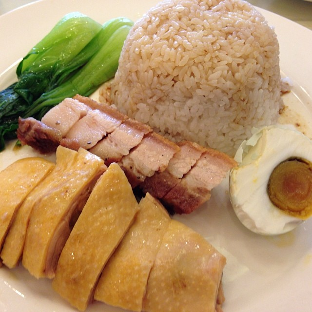 Cantonese White Cut Chicken and Crispy Pork Belly with Salt Egg and Steamed Rice! Yum!!