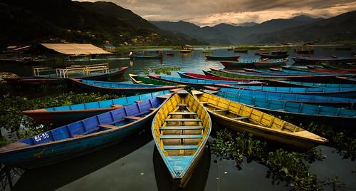 blue nepal sunset lake mountains water yellow boats nikon colours july wideangle roadtrip motorcycle pokhara sigma1020mm mychoice 2013 d7100