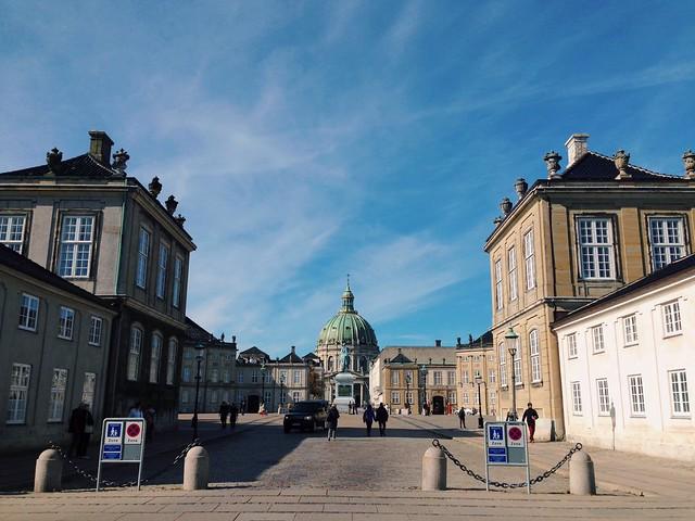 Marble Church across Amalienborg castle plaza
