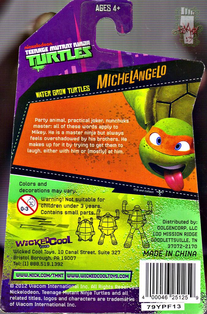 WICKED COOL TOYS :: Nickelodeon TEENAGE MUTANT NINJA TURTLES; 'WATER GROW TURTLES' - MICHELANGELO iv // ..card backer (( 2013 )) by tOkKa