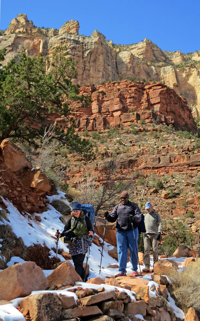 Grand Canyon National Park Winter Hikers On Bright Angel