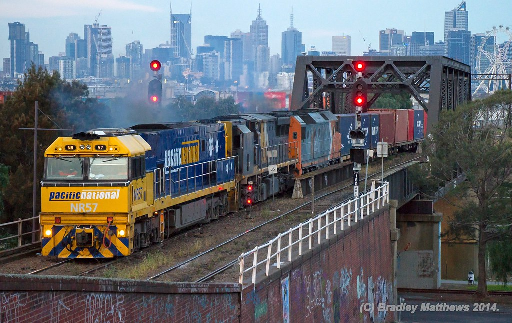 NR57-XRB562-DL44 with 7MC2 freight to Junee/Griffith at Footscray (31/5/2014) by Bradley Matthews
