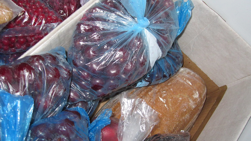 Frozen bread and fruit