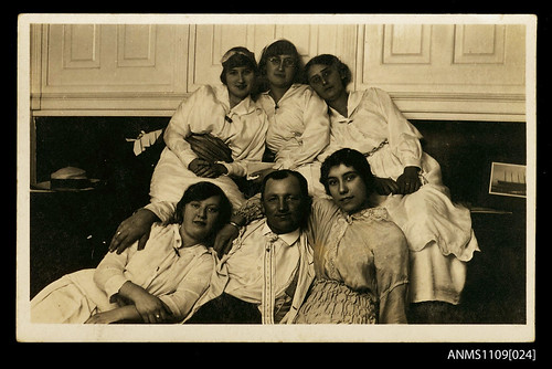 Photographic postcard of a man and five women | by Australian National Maritime Museum on The Commons