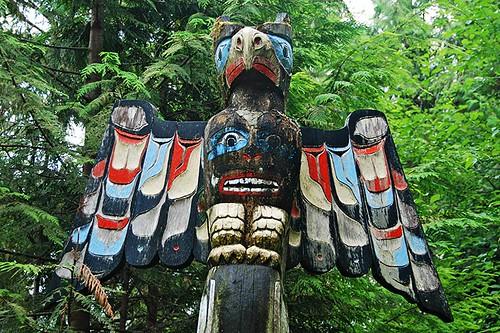Totem Pole at Kwaksistah Regional Park, Winter Harbour, Quatsino Sound, Vancouver Island, British Columbia, Canada