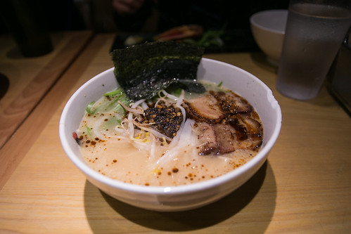 Totto Spicy Ramen - Original Rayu, Spicy Sesame Oil, Topped with scallion, bean sprouts, and nori   by City Foodsters