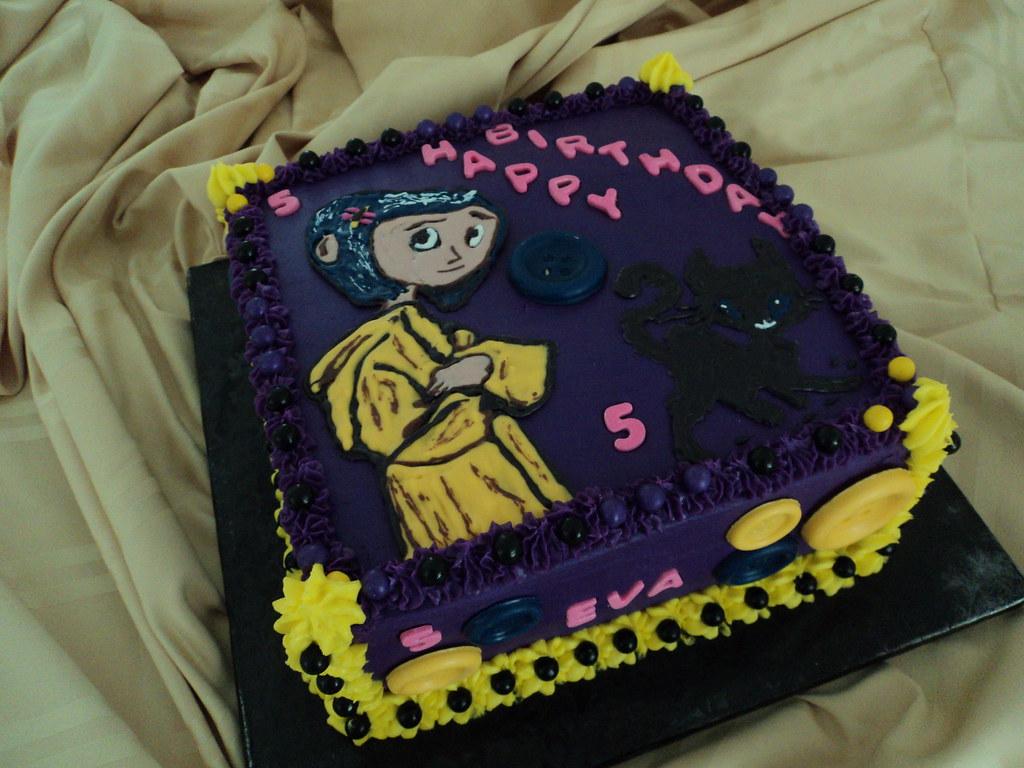 Awe Inspiring Coraline Birthday Cake Eva Requested A Coraline Themed Bir Flickr Funny Birthday Cards Online Inifodamsfinfo