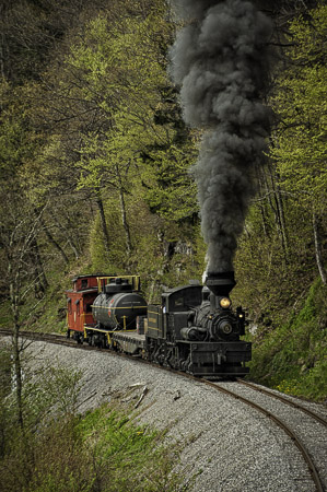 Freight train coming up the mountain