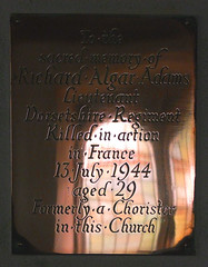 Killed in action in France, formerly a Chorister in this Church