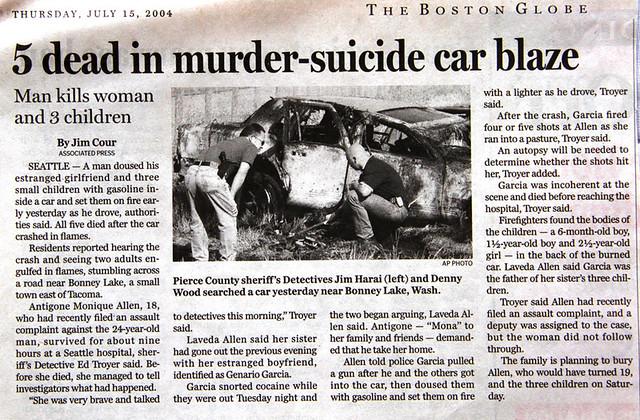 scrapbook: 5 dead in murder-suicide car blaze