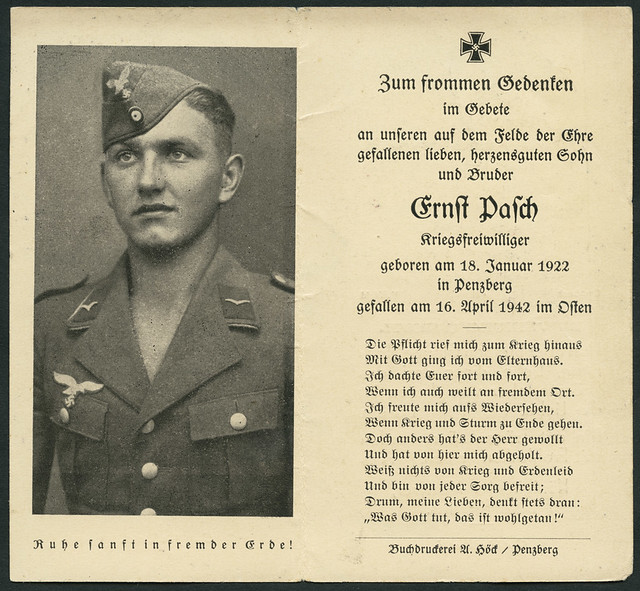 Archiv A112 Sterbebild Ernst Pasch, WWII, 1942