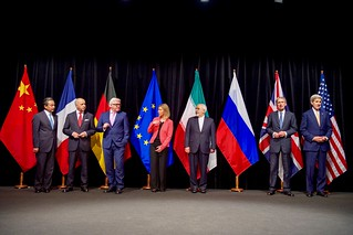 Secretary Kerry Poses for a Group Photo With Fellow EU, P5+1 Foreign Ministers and Iranian Foreign Minister Zarif After Reaching Iran Nuclear Deal | by U.S. Department of State