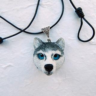 Siberian Husky head necklace