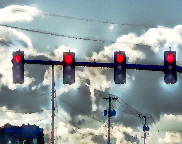 Just a Portion of the Train Picture, Reds, Blues, Power Lines & Clouds ~ Painterly