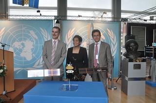 UNOOSA - donation ceremony of a Galileo navigation satellite model