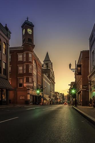 trafficlights architecture night sunrise dawn virginia downtown cityscape bluesky clocktower clear staunton goldenlight historicbuildings