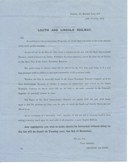 Louth and Lincoln Prospectus letter Nov 1872 | by ian.dinmore