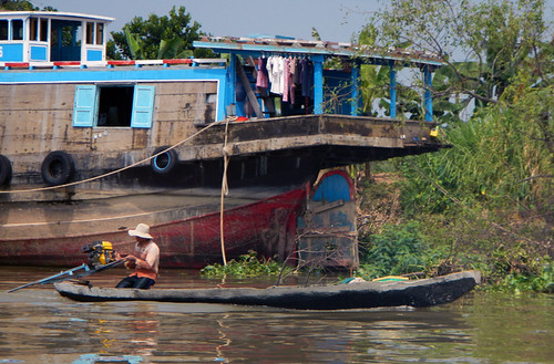 Wooden Boats on the Mekong River